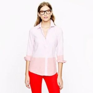 J Crew Boy Shirt 16 Pink Button Front Colorblock O